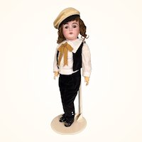 German bisque head boy doll by Kestner, Model 167
