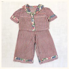 Vintage and adorable two piece suit for teddy bear or composition doll