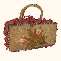 Vintage straw and ribbon purse with wool embroidery