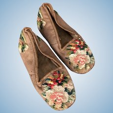 Beautiful old children's shoes with crewel embroidery