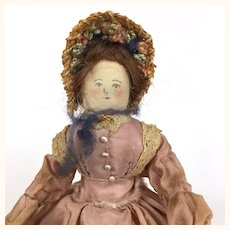 Vintage tiny dollhouse lady in lovely 1870's period costume