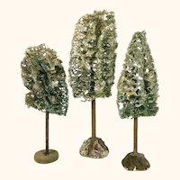 Three vintage miniature loofa trees with mica glitter
