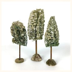Three vintage miniature trees with mica glitter