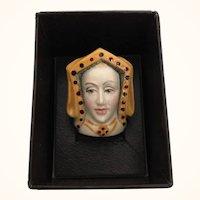 "Vintage Staffordshire Ceramic Thimble ""Catherine of Aragon"" in OB"