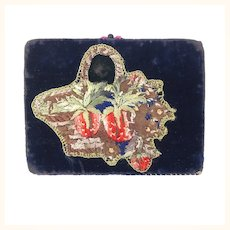 Antique beautiful embroidered velvet covered needle book