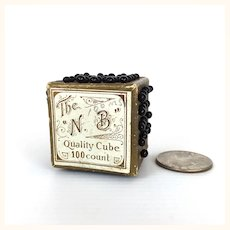 Antique pin cube with black glass head pins
