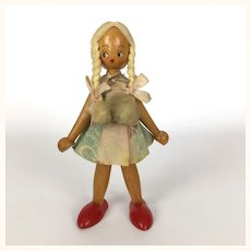 Vintage wooden girl doll Made in Poland