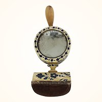 Antique blue and white painted sewing clamp with mirror and pincushion