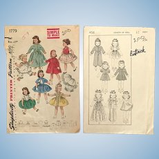 Two vintage Sewing patterns for doll clothing
