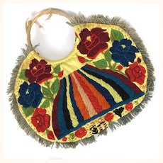Vintage cloth handbag with colorful wool embroidery