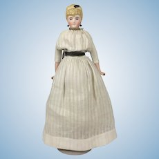 Tinted bisque blonde haired German beauty with rare hair ornament