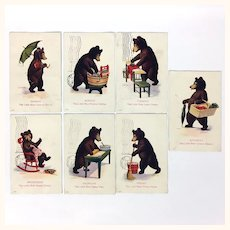 Antique set of teddy bear themed postcards