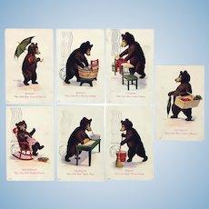 Antique set of teddy bear themed postcards