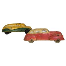 Vintage Sun Rubber 1930's -'40's toy car and bus