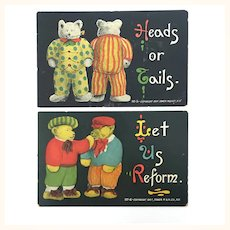 Two antique teddy bear themed postcards