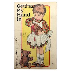 Antique postcard with amusing illustration and teddy bear