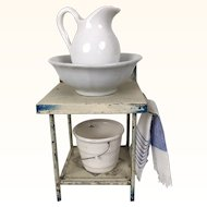 Miniature dollhouse tin washstand with pitcher, bowl and bucket