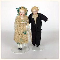Miniature china head dollhouse bride and groom dolls
