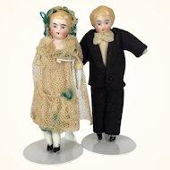 Miniature china head dollhouse bride and groom dolls