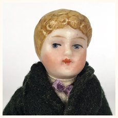 All bisque blonde dollhouse  boy in shawl collared suit