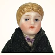 All bisque blonde boy in shawl collared suit