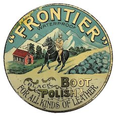 Antique Lithographed tin of Frontier Boot Polish