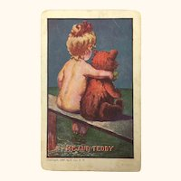 "Antique 1907 Postcard Humorous ""Me and Teddy"""