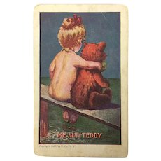 """Antique 1907 Postcard Humorous """"Me and Teddy"""""""