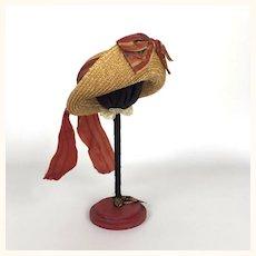 Wonderful artist made straw doll hat