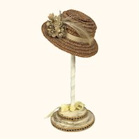 Vintage small doll's straw hat