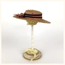 Antique straw boater doll's hat