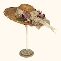 Antique straw hat for doll