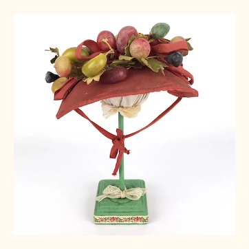 Vintage doll's Red taffeta hat with fabulous fruits
