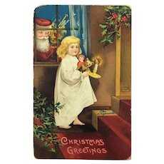 Beautiful Christmas postcard with girl, doll and teddy bear