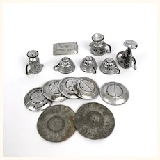 Assorted Antique tin and pewter dollhouse dishes