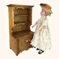 Tiger maple doll's miniature hutch