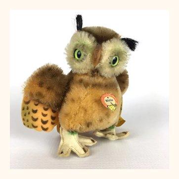 Steiff next to smallest sized Wittie mohair Owl
