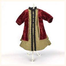 Early vintage velvet and silk faille dress