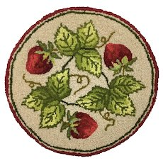 Handhooked miniature wool rug with strawberry motif