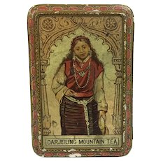 Antique small Darjeiling tea lithographed tin