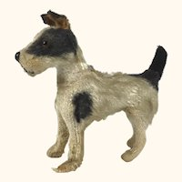 Tiny cloth and wooden terrier dog for doll companion