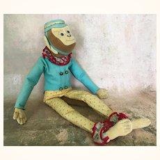 Vintage felt and fabric adorable bellhop monkey