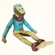Vintage felt and fabric adorable bellhop monkey