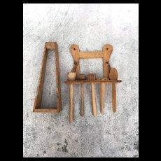 Vintage German wooden utensil rack and plate holder for large dollhouse