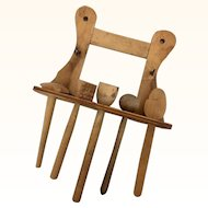 German wooden utensils and rack for larger scale dollhouse