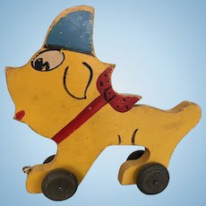 Vintage Yellow Wooden Dog Pull-Toy