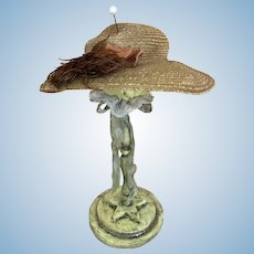 Old fine straw doll hat