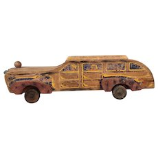 Vintage toy wooden schoolbus with all beat up patina