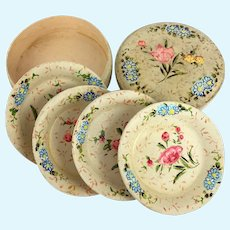 Vintage set of papier mache coasters or doll plates in box