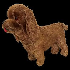 Vintage stuffed mohair dog, companion for larger doll - Red Tag Sale Item